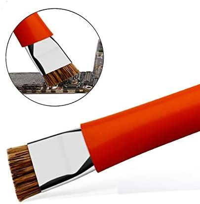 """HKCB Phone Motherboard IC Cleaning Brush, Horse Hair Bristles, Double ended, for iPad/iPhone and etc. 5.4"""" Length x 0.5"""" Width (Orange)"""