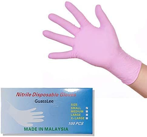 Nitrile Exam Powder, Free Gloves, Disposable Food Grade Pink Gloves, Latex - Free, Non Sterile, Convenient Dispenser Pack of 100, Medium