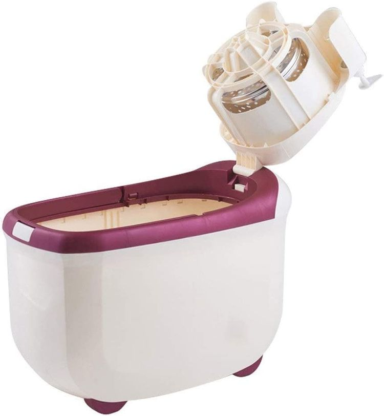 JNMDLAKO Mop Head Household Rotary Mop Bucket Free Hand Wash Automatic Dry Stainless Steel Basket White (Color : White)