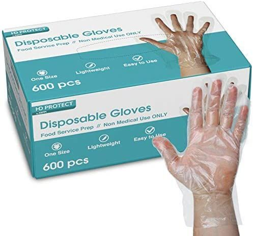 600 Pack Plastic Gloves - Best Value Food Prep Gloves Bulk Disposable Gloves Transparent Plastic Gloves Disposable for Food Service, Cleaning, Food Handling, Shared Spaces One Size Fits Most