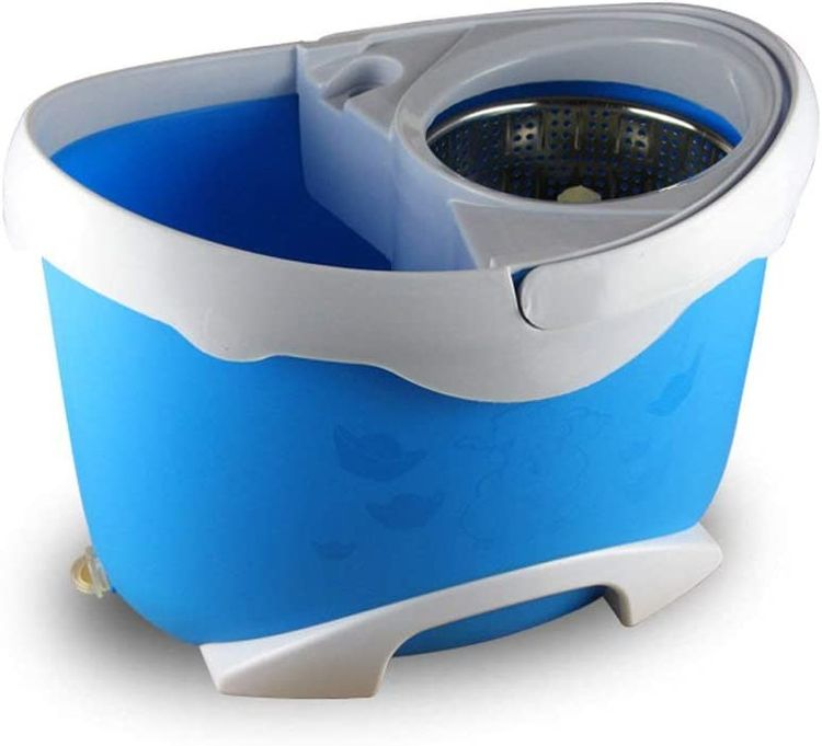 JNMDLAKO Mop Head Rotating Mop Bucket Boost Free Hand Wash Automatic Dry Dehydration Double Drive Mop 2 Mop Head Three Colors Optional (Color : Blue)