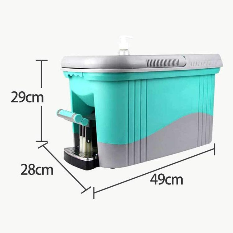 JNMDLAKO Mop Head Foot Type Home Automatic Pedal Water Mop Bucket Rotation Four Drive Rotation Drag Handle Pressure Mop Bucket Blue (Color : Blue)