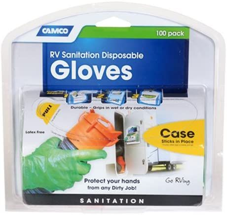 Camco Durable All Purpose RV and Camper Disposable Sanitation Gloves - Will Grip in Wet or Dry Conditions   Green Latex Gloves - 100 Pack (40285)