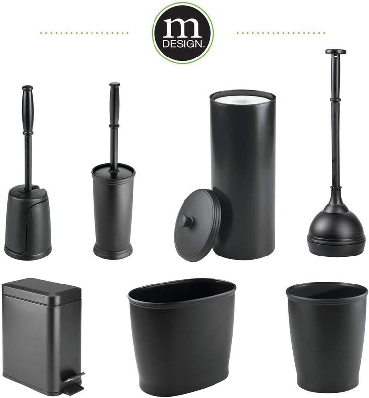 mDesign Compact Freestanding Plastic Toilet Bowl Brush and Holder for Bathroom Storage and Organization - Space Saving, Sturdy, Deep Cleaning, Covered Brush - Black