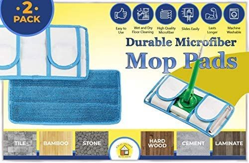 Swiffer Sweeper Compatible, Reusable, Durable Microfiber Mop Pads, Fits Both Dry Mops and Wet Jets, Machine Washable Pads, 2 Pack