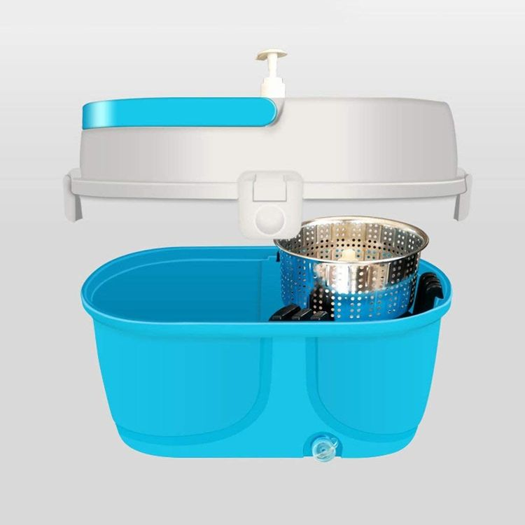 JNMDLAKO Mop Head Rotary Mop Bucket Free Hand Wash Automatic Dry Dehydration Double Drive Mop Stainless Steel Rod 1 Mop Disc 1 Mop Head2 (Color : Blue)