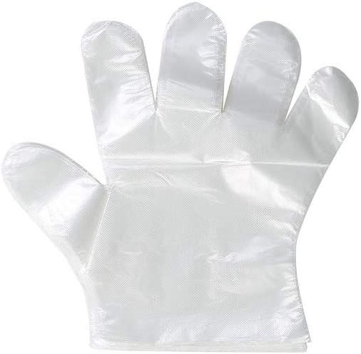 100 PCS Disposable Clear Plastic Gloves,Disposable Polyethylene Work Gloves Industrial Clear Vinyl Glovesfor Cooking,Cleaning,Food Handling