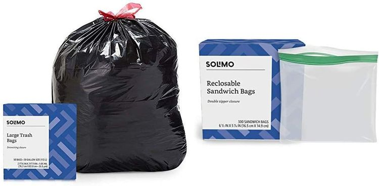 Brand - Solimo Multipurpose Drawstring Trash Bags, 30 Gallon, 50 Count & Sandwich Storage Bags, 300 Count