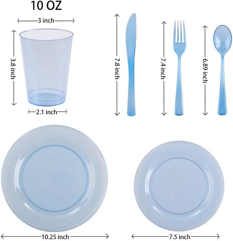 Blue Plastic Dinnerware Set Party Supplies - 25 Reusable Disposable Cutlery Utensils Sets of Dinner and Dessert Plates, Forks, Spoons, Knives, Cups for Decorations, Birthday, Baby Shower, Bachelorette