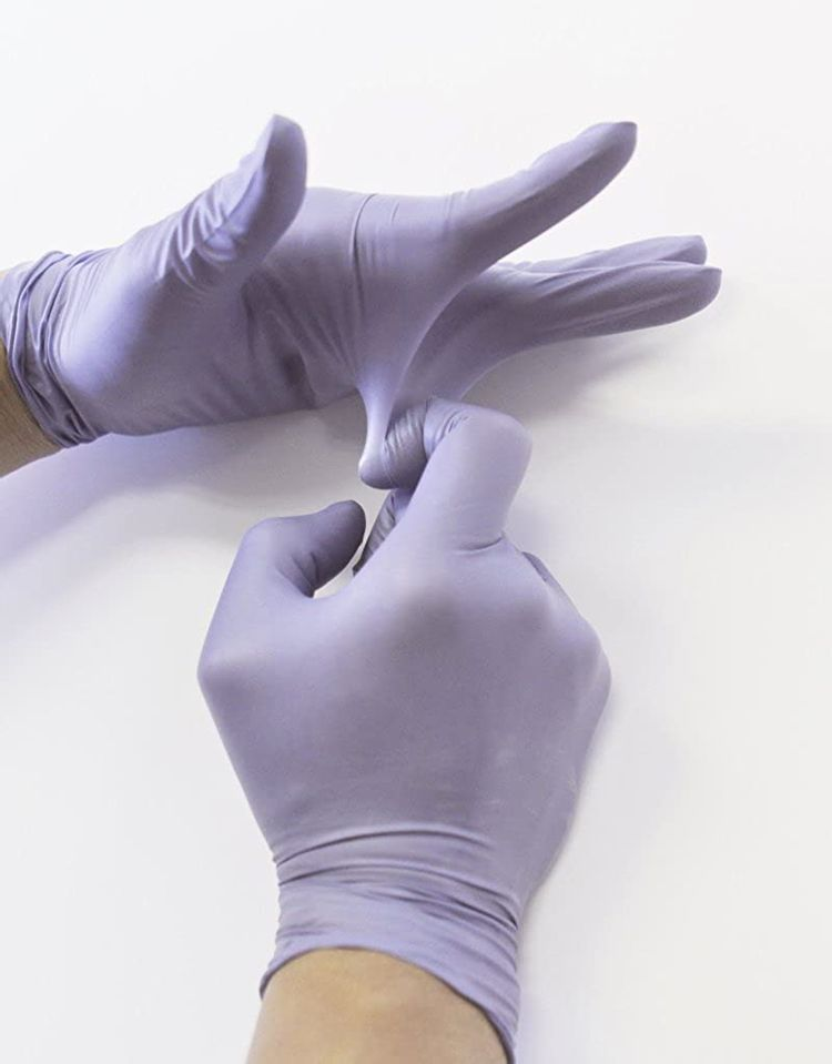 """Infi-touch, Heavy Duty, Steel Blue, Nitrile Gloves, 9.5"""" Length, Powder Free, 6 Mil Thickness, 100 Count"""