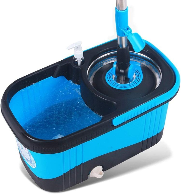 JNMDLAKO Mop Head Household Cleaning Tool Rotating Mop Bucket Wet Hand-Rotating Mop Bucket Reinforcing Rod with 2 Mop Heads (Color : Blue)