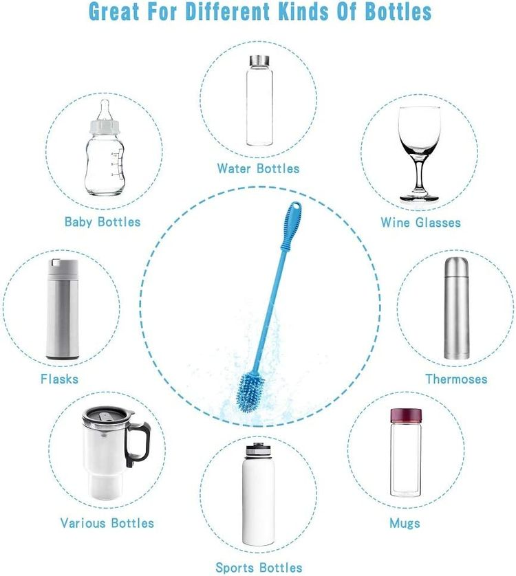 """Silicone Bottle Cleaning Brush with Long Handle, BPA Free 12.5"""" Water Bottle Cleaner for Baby Bottles, Hydro Flask, Sports Bottle, Vase, Glassware, Perfect for Smaller Diameter Bottle Openings (Blue)"""