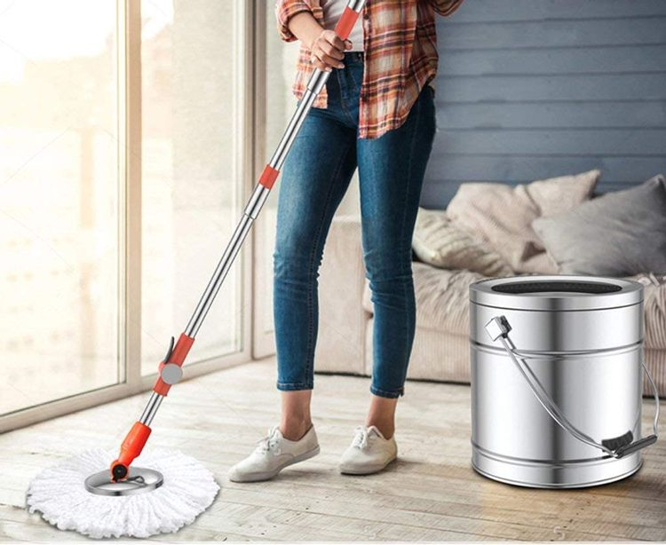JNMDLAKO Mop Head Home Rotary Mop Free Handwash Cleaning Tool Mop Household Washing One All Steel Stainless Steel Rotary Mop Bucket Single Barrel (Size : 6 mop Heads)