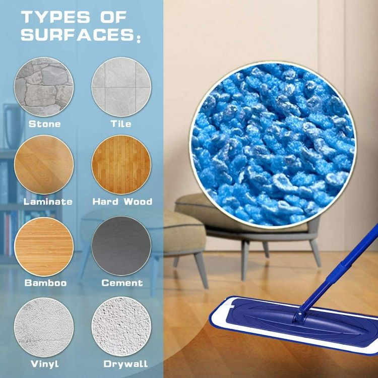 Reusable Mop Pads 7 Pack Compatible with Bona Floor Care System Durable and Washable Microfiber Mop Pad Refills Cleaning of Wet or Dry Floors Fitting for Home/Office Cleaning Supplies,Blue