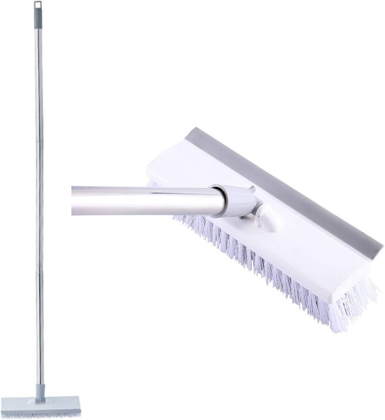 Floor Cleaning Scrubber Brush Long Handle Stiff Bristle Push Broom for Cleaning High Place/Window/Patio/Bathroom/Bathtub/Toilet/Grout/Kitchen/Tile Floor(Grey)