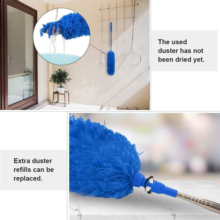 """DELUX Microfiber Duster Replacement Head Refill for Poles 15"""" Blue"""