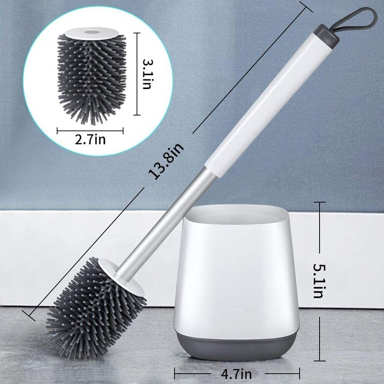 Toilet Bowl Cleaning Brush and Holder Set for Bathroom Storage and Organization, POPTEN Deep-Cleaning Toilet Bowl Cleaner Brush with Holder Anti-Rust Handle & TPR Soft Bristle,Floor Standing White