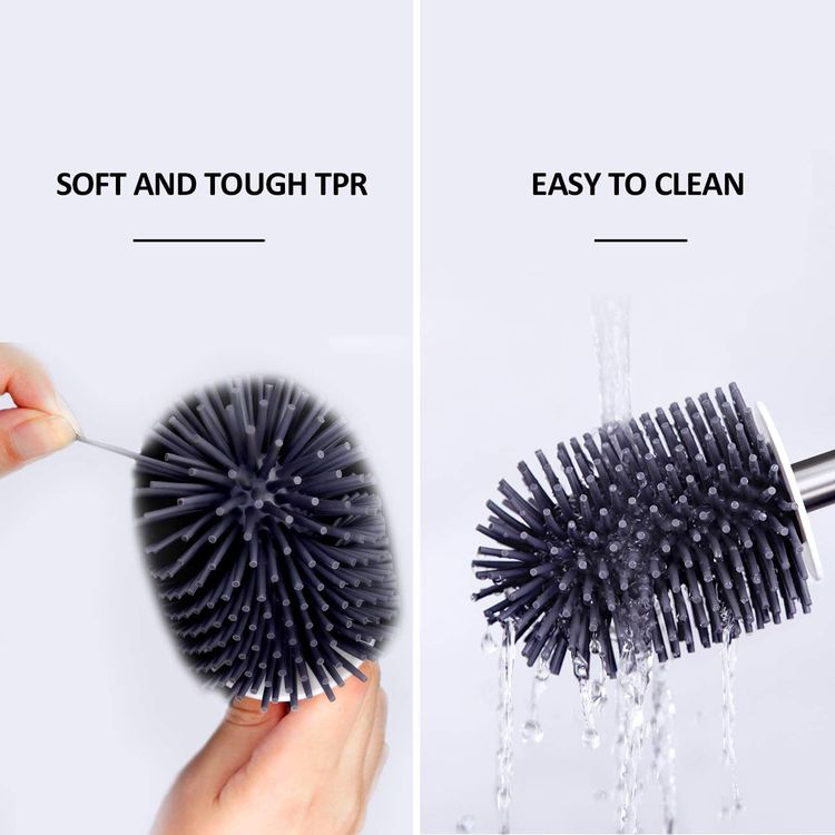 BOOMJOY Toilet Brush, Wall Mounted Toilet Bowl Brush with Holder for Bathroom, Soft Silicone Bristle, 2Pack