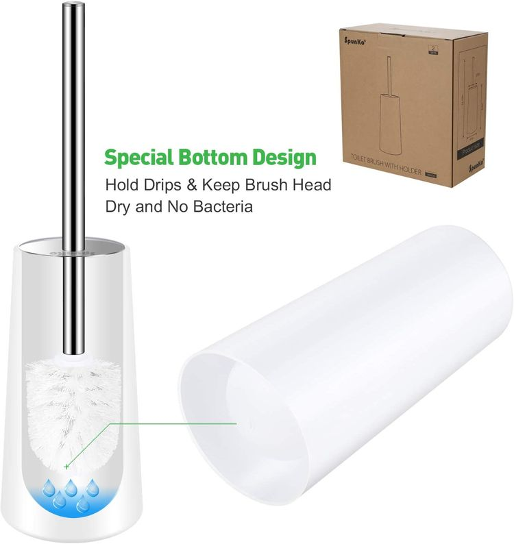 SpunKo Toilet Brush and Holder Set, 2 Pack WC Toilet Bowl Brush Cleaner with 304 Stainless Steel Long Handle, Toilet Scrubber Brush for Commercial Bathroom Restroom Deep Cleaning (White-2 Pack)