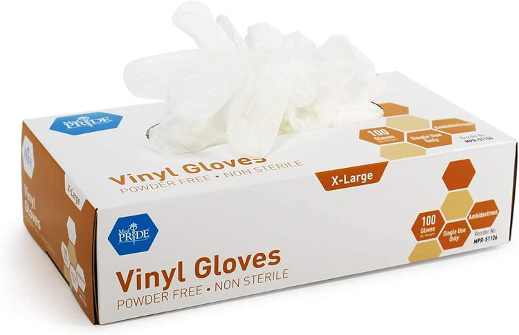 Medpride Vinyl Gloves| 4.3 mil Thick, Powder-Free, Non-Sterile, Heavy Duty Disposable Gloves| Medical, Food Hand