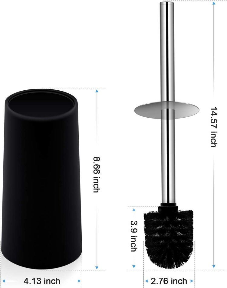 Toilet Brush and Holder, Toilet Bowl Brush with Stainless Steel Handle Durable Bristles Deep Cleaning Compact Bathroom Brush Save Space Good Grip Anti-Drip, Black