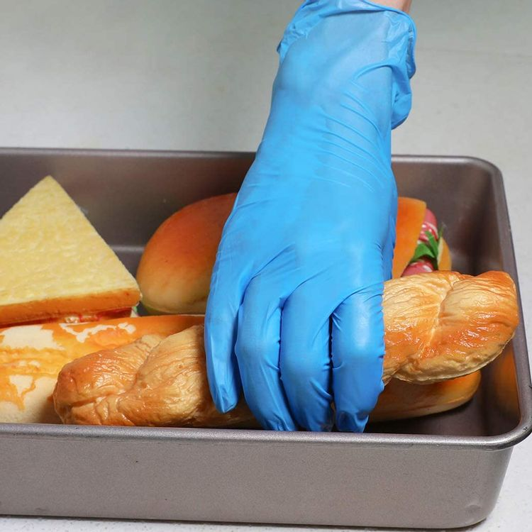 Coyacool Disposable Latex Free Gloves , Powder Free, 4 Mil Thick - Food Grade Gloves,100 Pc. Large Cleaning Gloves, Blue