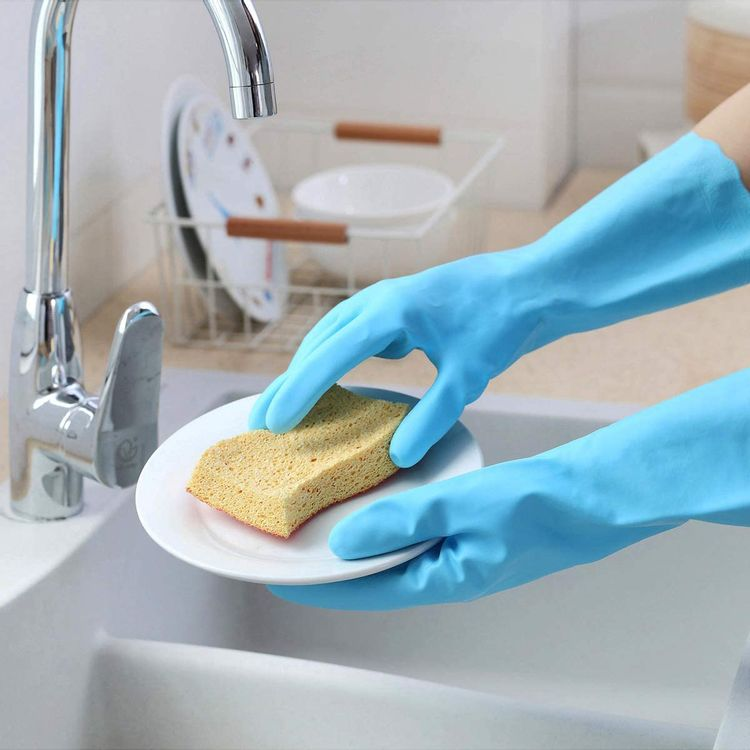 Cleaning Dishwashing Gloves - Household Kitchen Soft Cotton Flock Lining Gloves - 2 Pairs Reusable Waterproof Rubber Gloves(Medium, 2 Colors)