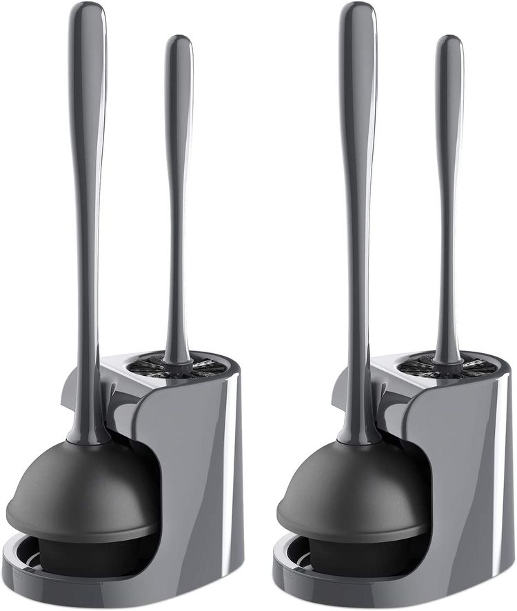 MR.SIGA Toilet Plunger and Bowl Brush Combo for Bathroom Cleaning, Gray, 2 Sets