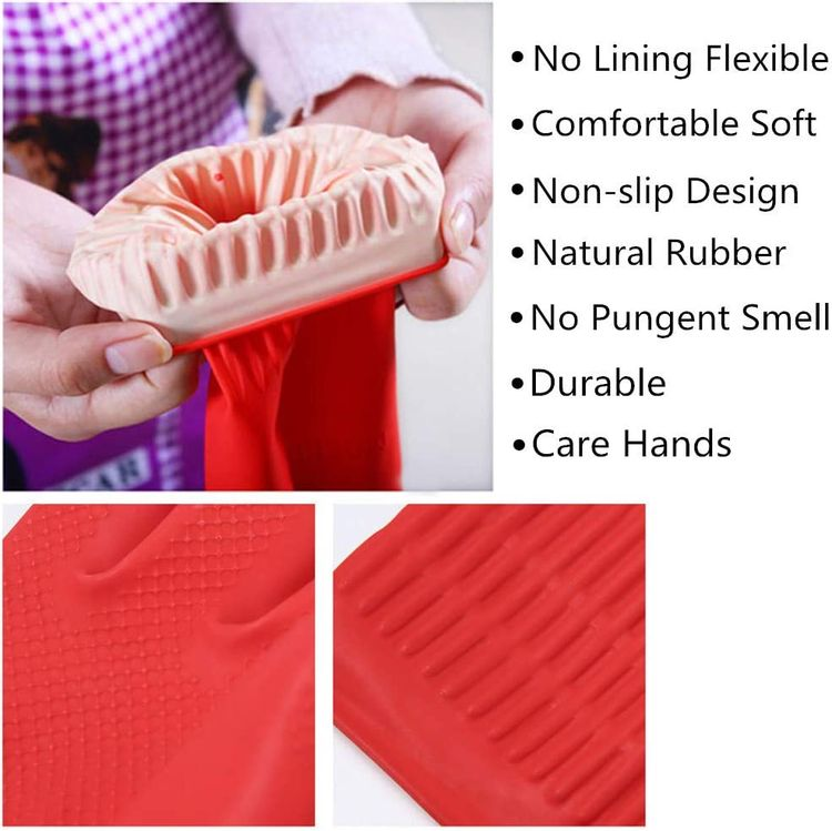 Rubber Cleaning Gloves Kitchen Dishwashing Glove 3-Pairs,Waterproof Reuseable.(Small)