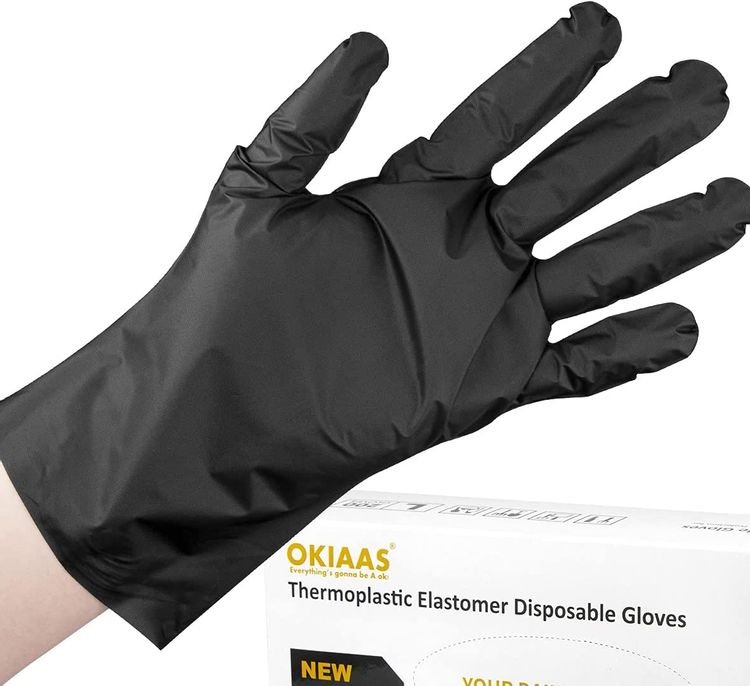 OKIAAS Black Gloves Disposable Latex Free M|TPE Hybrid Plastic Gloves, Loose-Fitting|For Food Prep, Household Cleaning, Hair Dying and More|Medium, 100 Counts/Box
