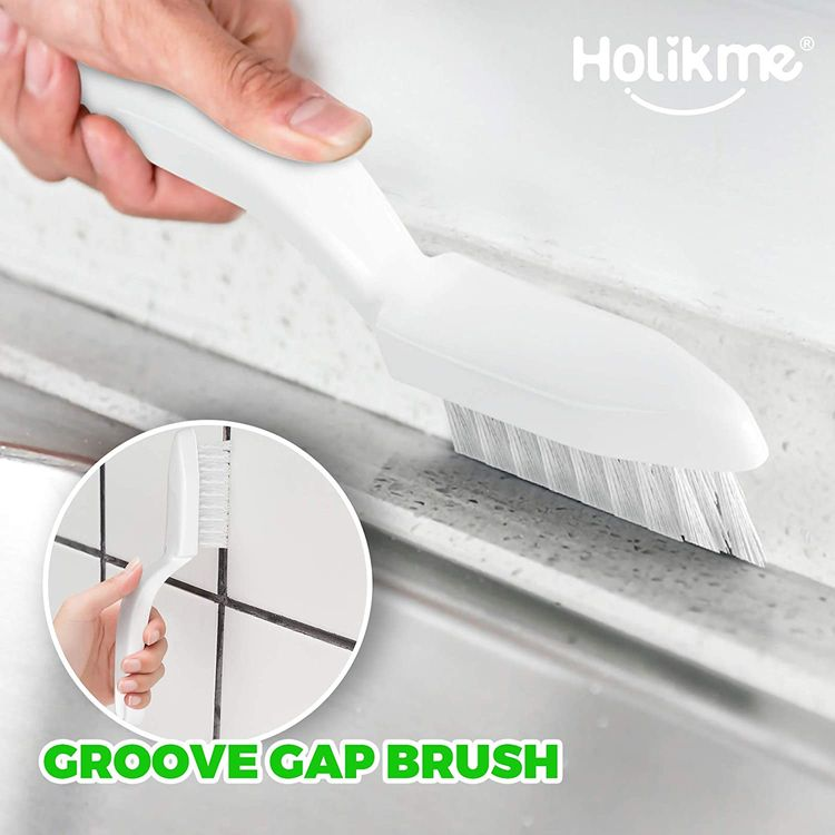 Holikme 5 Pack Kitchen Cleaning Brush Set, Dish Brush for Cleaning, Kitchen Scrub Brush&Bendable Clean Brush&Groove Gap Brush&Scouring Pad for Pot and Pan, Kitchen Sink, Green