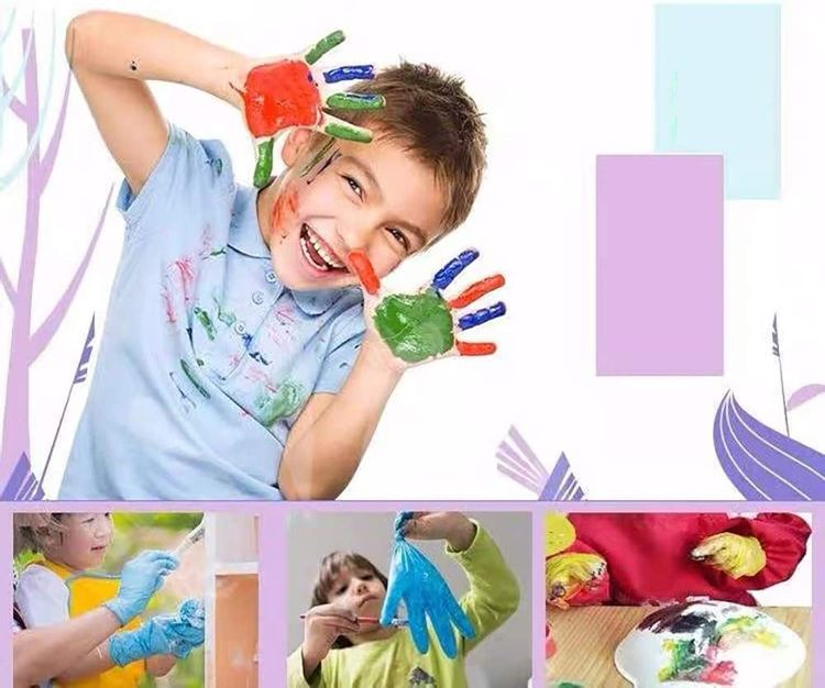 Multipurpose Disposable Nitrile Gloves for Kids of 5-12 Years Students, Powder Free, Latex Free, Textured Finger, Crafting, Painting,Gardening, Cooking, Cleaning(50PCS- Blue)