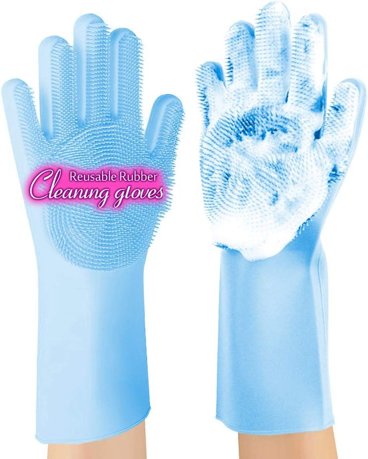 ANZOEE Reusable Silicone Dishwashing Gloves, Pair of Rubber Scrubbing Gloves for Dishes, Wash Cleaning Gloves with Sponge Scrubbers for Washing Kitchen, Bathroom, Car and More (Blue)