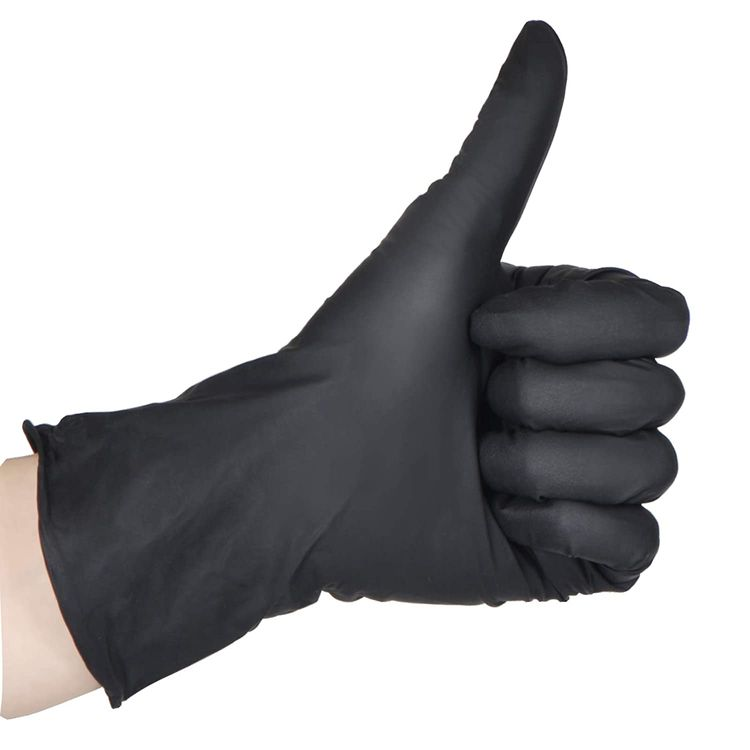 100 Pcs Disposable Gloves - Nitrile and Vinyl Blend - Latex and Powder Free - Thick Multipurpose Working Gloves (Black, XL)
