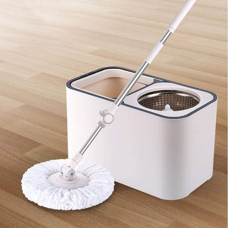 JNMDLAKO Mop Head Double-Drive Rotary Mop Bucket Free Hand-Washing Mop Dry and Wet Dual-use Good God Drag White (Color : White)