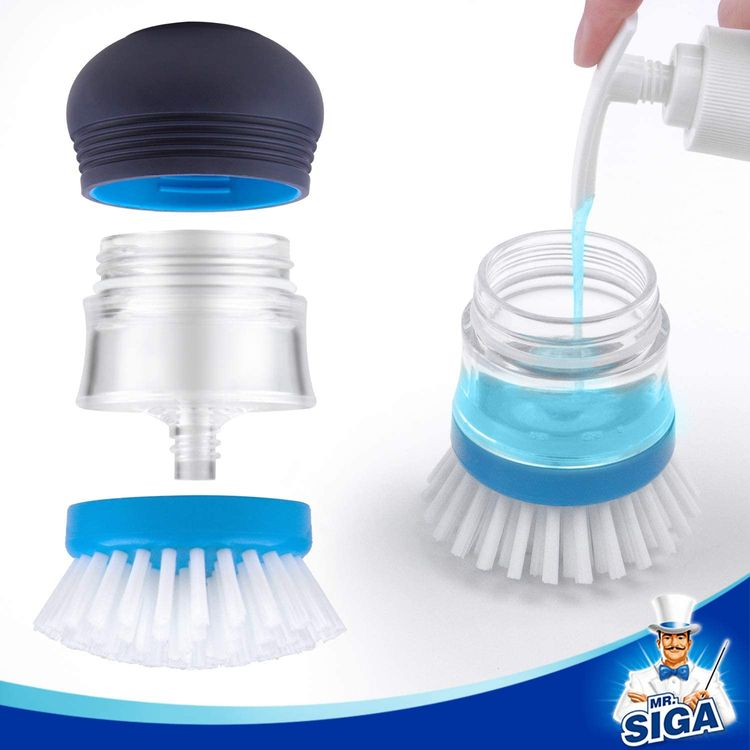 MR.SIGA Soap Dispensing Palm Brush, Kitchen Brush for Dish Pot Pan Sink Cleaning, Pack of 2, Navy/Blue