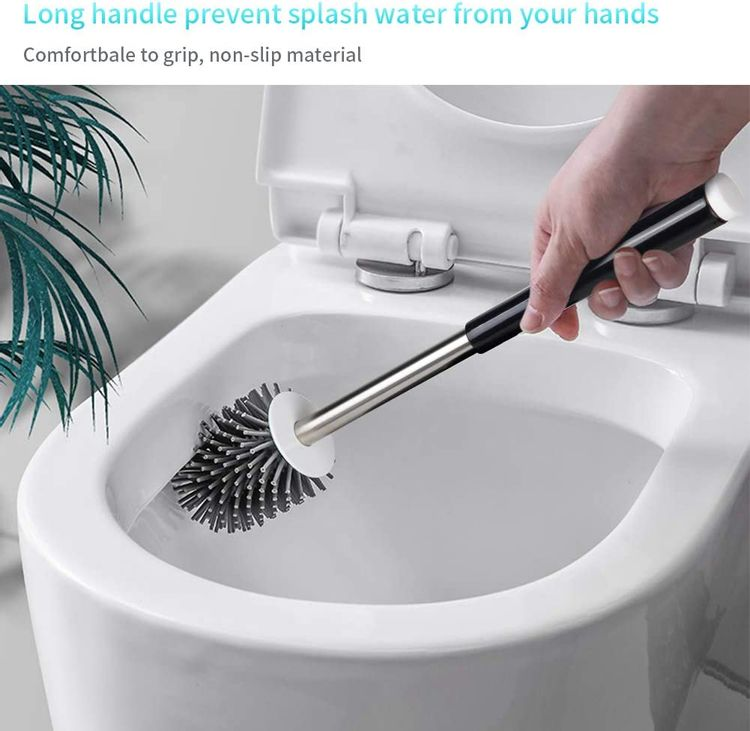 MEXERRIS Toilet Brush and Holder Set Stainless Steel with Soft Silicone Bristle, Sturdy Cleaning Toilet Bowl Cleaner Brush Set for Bathroom Storage Organization - Tweezers Included (Black)