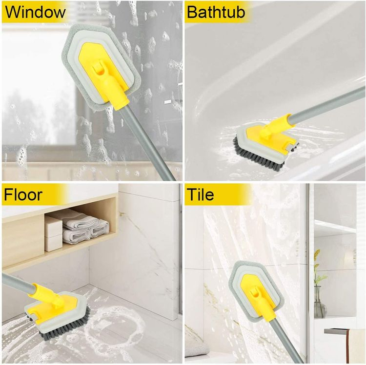 2 in 1 Cleaning Brush Tub and Tile Scrubber Brush Sponge with 46'' Extendable Long Lightweight Handle Detachable Stiff Bristles Scrub Brush for Cleaning Bathtub Shower Bathroom