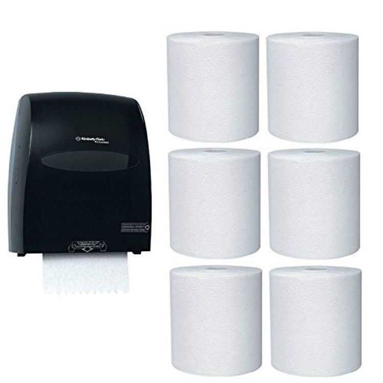 Kimberly-Clark Hard Roll Paper Towel Dispenser with 6-Pack Refill Bundle