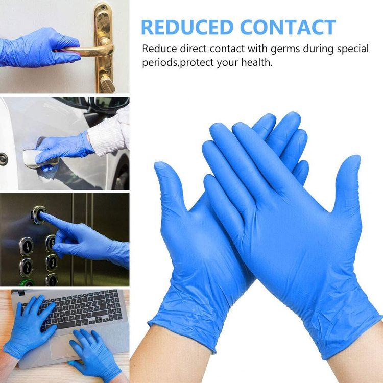 Disposable Gloves, 100Pcs Vinyl Gloves Non Sterile, Powder Free, Latex Free - Cleaning Supplies, Kitchen and Food Safe - Ambidextrous (Medium)