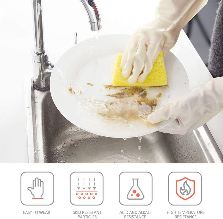 BOOMJOY Cleaning Gloves, Reusable Rubber Kitchen Gloves Heavy Duty for Cooking, Washing Kitchen, Bathroom, Creamy White, 3 Pairs, Size-M