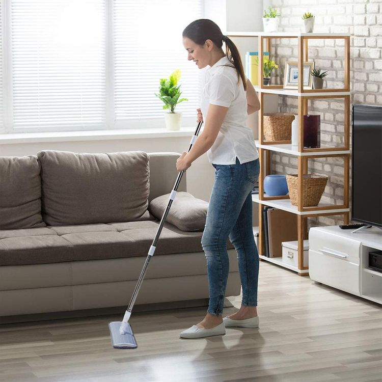 CQT Microfiber Mop Floor Cleaning System, Hardwood Floor Mop with 4 Washable Pads Perfect Cleaner for Hardwood, Laminate & Tile,Stainless Steel Handle and Extension
