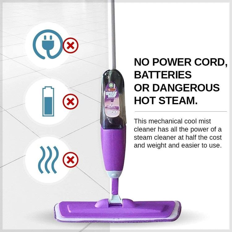 Vorfreude Floor Mop with Integrated Spray, Refillable 700ml Capacity Bottle and Reusable Microfiber Pad (Purple)