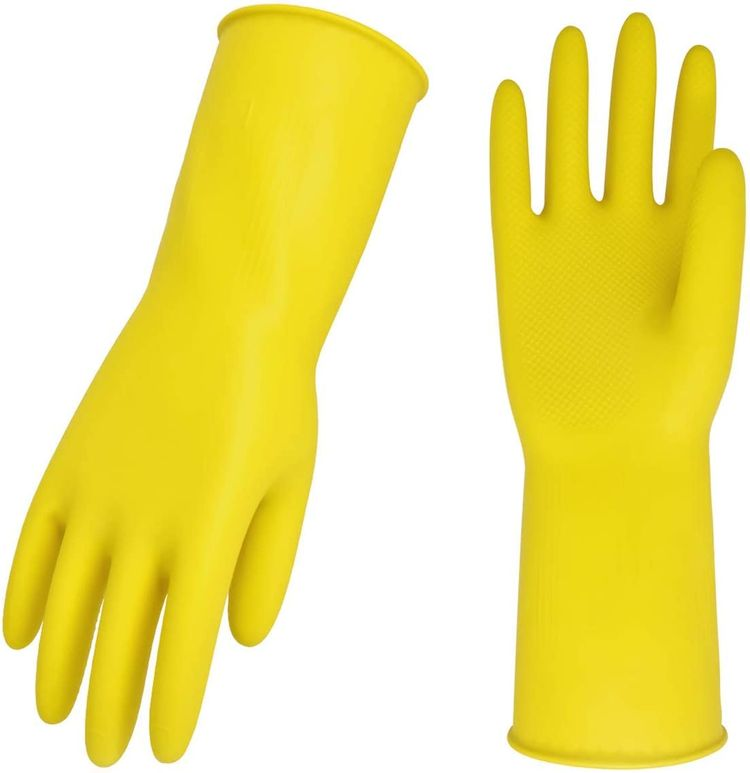 Vgo 10-Pairs Reusable Household Gloves, Rubber Dishwashing gloves, Extra Thickness, Long Sleeves, Kitchen Cleaning, Working, Painting, Gardening, Pet Care (Size S, Yellow, HH4601)