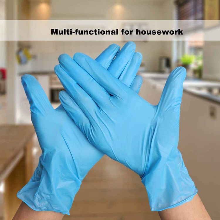 Coyacool Disposable Latex Free Gloves , Powder Free, 4 Mil Thick-Food Grade Gloves,100 Pc. Medium Cleaning Gloves, Blue