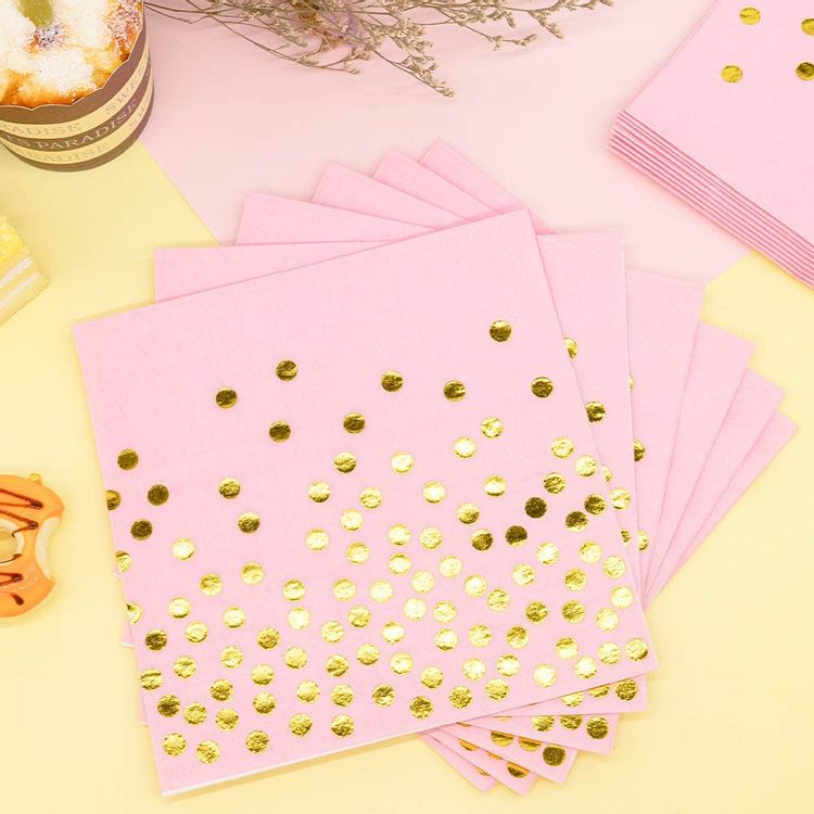Pink and Gold Party Supplies - 200PCS Pink Paper Plates Disposable Dinnerware Set Gold Dot Dinner/Dessert Plates Cups Cocktail Napkins for Baby Shower Birthday Wedding Valentine Hawaii, Serve for 50