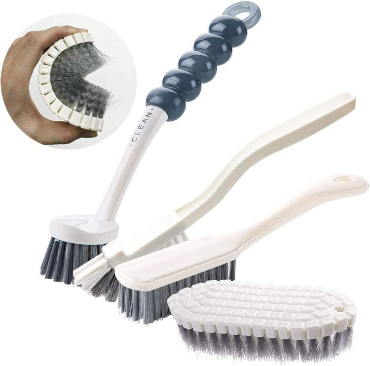 4 Pack Deep Cleaning Brush Set-Kitchen Cleaning Brushes, Includes Grips Dish Brush, Bottle Brush, Scrub Brush Bathroom Brush, Shoe Brush for Bathroom, Floor, Tub, Shower, Tile, Bathroom, and Kitchen
