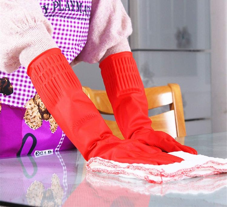 Rubber Cleaning Gloves Kitchen Dishwashing Glove 2-Pairs and Cleaning Cloth 2-Pack,Waterproof Reuseable. (Large)