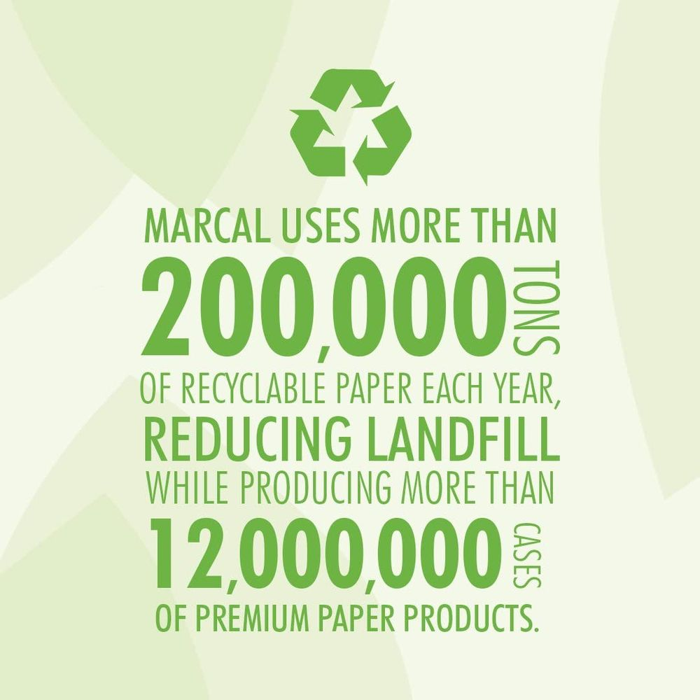 Marcal Paper Towels 100% Recycled 2-Ply, 60 Sheets Per Roll - Case of 15 Individually Wrapped Green Seal Certified 06709