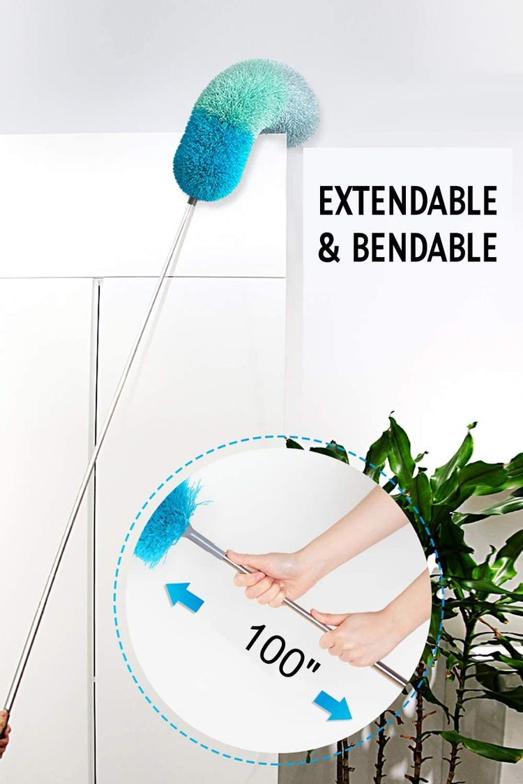 """BOOMJOY Microfiber Feather Duster with Extendable Pole, 100"""" Telescoping Cobweb Duster for Cleaning, Bendable Head, Scratch-Resistant Cover, Washable Duster for Ceiling, Fan, Furniture, Green"""